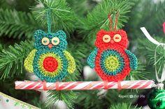 Crochet Owl Candy Cane Ornament | AllFreeCrochet.com