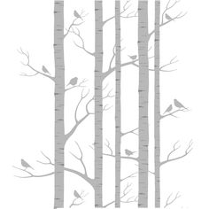 Birch motif removable wall sticker by Lara Cameron and The Wall Sticker Company.  Ideal for the pokey little area near Marcus's bedroom door??