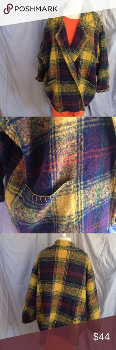 Vintage Kenar Wool/Mohair Fall Coat Kenar, wool/mohair/nylon. Two big front pockets. No closure. Long sleeves. Great plaid pattern. Pre-loved, great condition. Kenar Jackets & Coats
