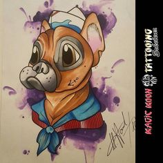 First try with the chameleon pens by we love their French Bulldog tattoo design. Carp Tattoo, Fox Tattoo, French Bulldog Tattoo, Fresh Tattoo, Professional Tattoo, Chameleon, Traditional Tattoo, Tattoo Studio, Old And New