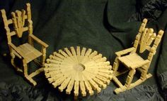 SALE was 19.99 ... Vintage CLOTHESPIN Folk Art Miniature Furniture 2 Chairs and 1 Awesome Round Table Dollhouse