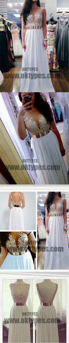 White Floor Length Prom Dresses, V-neck Prom Dresses, Beading Prom Dresses, V-back Prom Dresses, TYP0214 #promdresses