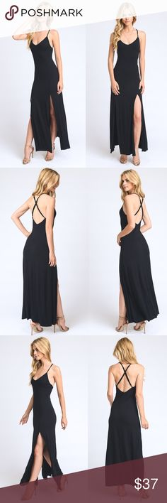 """Black Maxi Thigh Slit Dress This maxi dress has double front slits that reach all the way up to mid thigh is a very versatile piece. Super soft and very comfortable. Dress it up or down for a different vibe.                           -Model is wearing a size small-                                           -Model stats: Height 5'7"""", bust 31.5in, waist 24in & hips 35in- Material Content: 96% rayon, 4% spandex. Dresses Maxi"""