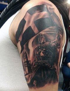 Waving Flag Knight Templar Tattoo For Men Arm Tattoo, Hand Tattoos, Sleeve Tattoos, Samoan Tattoo, Polynesian Tattoos, Tattoo Ink, Tatoos, Historical Tattoos, Good Knight