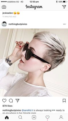 How to dry your pixie cut? Short hair, we do not need to dry it. Best Short Haircuts, Cool Haircuts, Short Hairstyles For Women, Hairstyles Haircuts, Short Hair Cuts For Women, Long Hair Cuts, Balayage Hair Brunette Short, Blonde Pixie, Short Ombre
