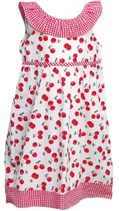 bd9f76d276f NEW HORIZONS Child Girls White   Red Cherries Gingham Sleeveless Dress NWT