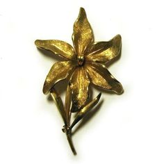 vintage 1950s rolled gold lily brooch