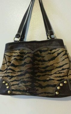 """MOSCHINO  CHEAP AND CHICLEATHER &CANVAS ANIMAL PRINT 15.5""""L 10""""H 6""""W 9"""" STRAPS #Moschino #ShoulderBag"""