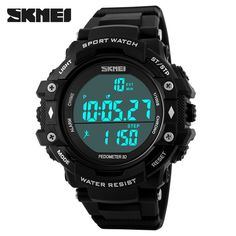 We love it and we know you also love it as well SKMEI Watches Men Pedometer LED Digital Watch Dive 50M Outdoor Sport Watch Student Black Clock relogio masculino Luxury Brand just only $13.96 with free shipping worldwide  #menwatches Plese click on picture to see our special price for you