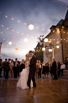 even though this is a wedding, i think it would be so much fun to have an outdoors dance floor with lights/chandeliers overhead :) wedding dance floor Trendy Wedding, Fall Wedding, Dream Wedding, Blue Wedding, Wedding Dress, Backyard Wedding Lighting, Wedding Backyard, Dance Floor Lighting, String Lighting