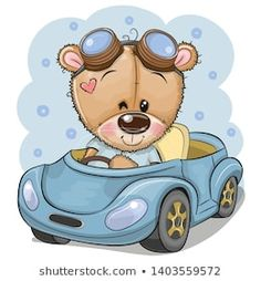 Cartoon Teddy Bear in glasses goes on a Blue car. Cute Cartoon Teddy Bear in glasses goes on a Blue car stock illustration