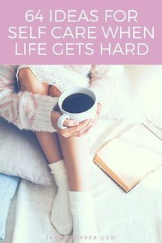 """""""64 Ideas for Self Care When Life Gets Hard."""" Routines, ideas, activities and worksheets to support your self-care. Tools that work well with motivation and inspirational quotes. For more great inspiration follow us at 1StrongWoman."""