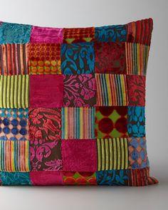 Velvet Patchwork Pillow - Horchow