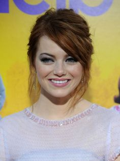 Emma Stone Chic Messy Updo Hair Style with Side Swept Bangs | Hairstyles Weekly