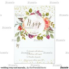 wedding rsvp card marsala orange floral faux gold
