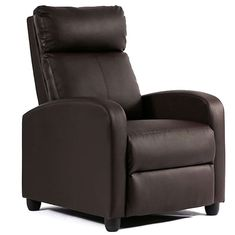 FDW Recliner Chair Single Reclining Sofa Leather Chair Home Theater Seating Living Room Lounge Chaise with Padded Seat Backrest (Brown) Brown Leather Recliner, Leather Reclining Sofa, Leather Recliner Chair, Sofa Chair, Leather Sofa, Recliner Chairs, Recliners, Lounge Chairs, Chair Cushions