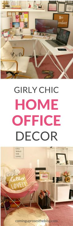 Home office decor ideas for Bloggers and Girlbosses, girly chic home office decor, white and gold home office decor, room decor, office decor