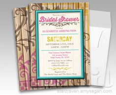 Tropical Tiki Wood Tattoo Bridal Shower Invitations