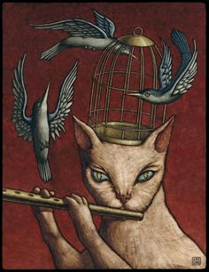 Magic Flute Cat Illustration by Jay Long - Cat cartoons, cute drawings, cats-musicians I Love Cats, Cool Cats, Long Cat, Gatos Cats, Bird Cages, Cat Drawing, Cat Art, Illustration Art, Art Illustrations