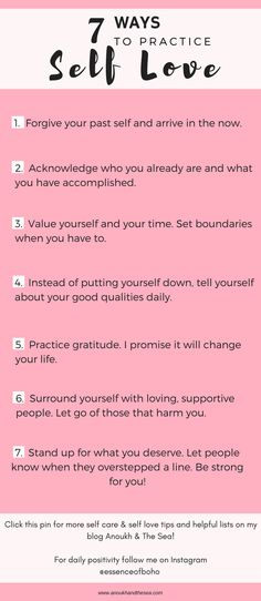 How to practice Self Love. Follow these 7 ideas on how to love yourself and stand up yourself to life a happier and more balanced life. More on my blog Anoukh