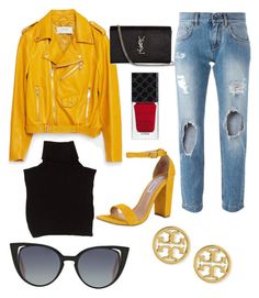 """Yellow leather"" by katherineahumada ❤ liked on Polyvore featuring Zara, Dolce&Gabbana, Marc Jacobs, Steve Madden, Yves Saint Laurent, Fendi, Tory Burch and Gucci"