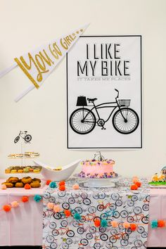Cake table from a Bike Themed Birthday Party on Kara's Party Ideas | KarasPartyIdeas.com (15)