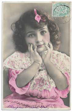 Beautiful Little Girl with Big Eyes, Pink Dress and Hair Bow, Antique Children Real Photo Postcard RPPC, Vintage Tinted Postcard by maralecollectibles on Etsy Beautiful Little Girls, Cute Little Girls, Sweet Girls, Vintage Photographs, Vintage Photos, Children Images, Very Lovely, Photo Postcards, Single Image