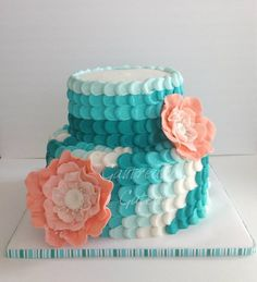 Teal and coral ombre - Fondant fantasy flowers and buttercream scallops  S'mores cake - graham cracker cake, toasted marshmellow and chocolate ganache fillings