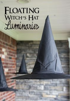 Clever decorating idea for Halloween, floating Witch's hat to create that Hogwarts look and feel.