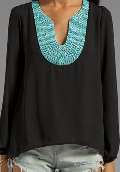 Turquoise beaded blouse