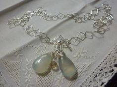 Chalcedony Gemstone Necklace with a Geometric by CurranStudios, $25.00