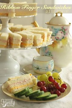 """These ribbon finger sandwiches (aka """"Tea Sandwiches"""") are perfect for baby/bridal showers receptions tea parties luncheons or birthday parties. So easy to make and tasty too! Girls Tea Party, Tea Party Birthday, Tea Parties, Party Party, 3rd Birthday, Party Time, Party Food Menu, Easy Party Food, Tea Party Sandwiches"""