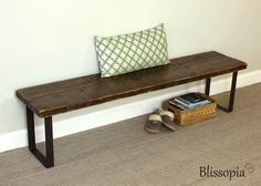 Industrial Steel Leg Bench, Reclaimed Wood Bench, Dining Bench, Entry Bench by Blissopia on Etsy https://www.etsy.com/listing/387517702/industrial-steel-leg-bench-reclaimed