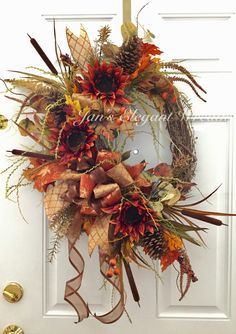Elegant Fall Wreaths, Winter Wreaths, Spring Wreaths, Sunflower Wreaths, Floral Wreaths, Fall Swags, Grapevine Wreath, Door Wreaths, Thanksgiving Wreaths
