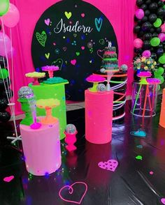 13th Birthday Party Ideas For Girls, 18th Party Ideas, Neon Birthday, 13th Birthday Parties, Girl Birthday Themes, Sweet 16 Birthday, 12th Birthday, Neon Party Decorations, 16th Birthday Decorations