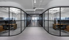 First Gulf Offices - Toronto - Office Snapshots Office Interior Design, Office Interiors, Dining Booth, Exposed Ceilings, Glass Office, Workplace Design, Curved Glass, Co Working, Architecture Drawings