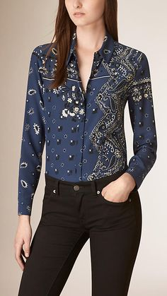 Indigo Paisley Print Silk Shirt - Image 1