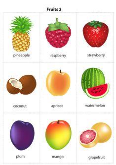 Kids Pages - Fruits 2 - free flashcards - pdf - 2 sizes - free Learning English For Kids, Kids English, English Tips, English Language Learning, English Study, English Class, English Lessons, English Words, English Grammar