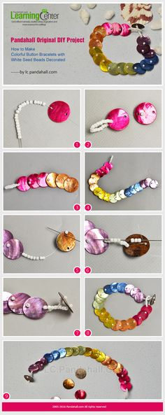 Pandahall Original DIY Project - How to Make Colorful Button Bracelets with White Seed Beads from LC.Pandahall.com