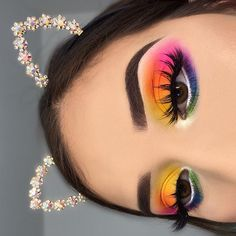 Makeup / makeup looks / rainbow makeup / eye makeup / cat ears / eyebrows on fleek / colorful eye makeup / makeup inspiration Party Eye Makeup, Eye Makeup Art, Eyeshadow Makeup, Eyeliner, Bright Eyeshadow, Hair Makeup, Movie Makeup, Glow Makeup, Eyeshadow Ideas