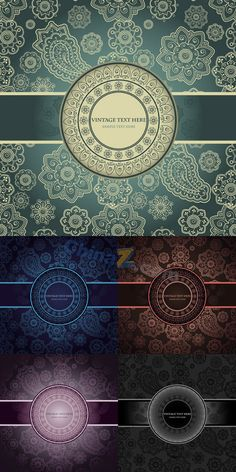 European classical pattern vector cards