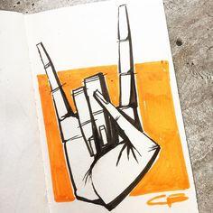 Inktober day 8: rock. #inktober #inktober2016 #rock #rockandroll #hand #ink #illustration #draw #drawing #sketch #sketchbook #exercise #blackandwhite #brush #brushpen