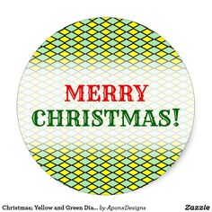 Yellow and Green Diamond Shape Pattern Classic Round Sticker - christmas stickers xmas eve custom holiday merry christmas Sticker Shop, Sticker Design, Pink And Green, Yellow, Green Diamond, Christmas Stickers, Merry Christmas, Xmas, Animal Skulls