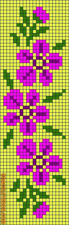 Bead loom pattern or square stitch pattern of flowers Cross Stitch Bookmarks, Cross Stitch Borders, Cross Stitch Flowers, Cross Stitch Designs, Cross Stitch Embroidery, Cross Stitch Patterns, Cross Stitching, Seed Bead Patterns, Beading Patterns