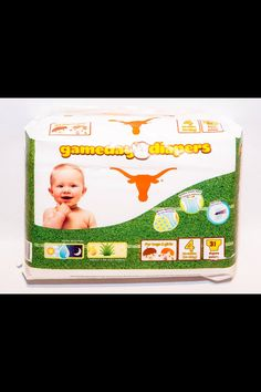 Texas Longhorn Baby Diapers - sooooo cute! Www.gamedaydiapers.com Or at HEB stores!