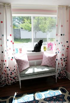 Polka dot drapes/ Confetti drapes tutorial girls room! Pink and Navy remodelaholic.com #confetti #polka_dots #drapes