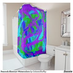 Peacock Abstract Watercolors Shower Curtain