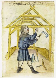 Illustration of a Carpenter, Rudolf Meier - From the House Books of the Nuremberg Twelve Brothers Foundation, records of a charitable foundation started in the city of Nuremberg in 1388. The foundation would take 12 poor and needy people and provide them with training in a trade. Starting around 1425 their books would contain one-page illustration of the people they had helped, usually giving their name and what profession they were in. - Nuremburg, Germany - c. 1425-1450