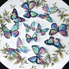 Edible Rainbow Butterflies Wafer Rice Paper 3D Butterfly Wedding Cake Decorations 1st Birthday Cupcake Toppers Baby Shower Cookies Tea Party