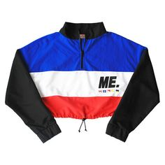 M.E. Crop Windbreaker (red, white, blue black) ($68) ❤ liked on Polyvore featuring tops et cut-off